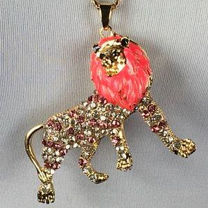 Betsey Johnson Necklace Lion Pink Rhinestone Gold